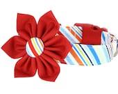 Red Blue Yellow Stripe Flower Dog Collar; Nautical Girl Dog Collar Flower Set: Play Ball Stripe
