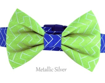 Blue and Green Herringbone Bow Tie Dog Collar/ Chevron Dog Collar and Bow Tie Set: Metallic Herringbone