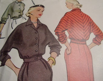 Vintage 1950's McCall's 8586 Skirt and Jacket Sewing Pattern, Size 14, Bust 32