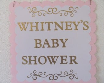 Door Sign, Pink, White, Glitter Gold, Baby Shower Door Sign, Baby Shower Decorations
