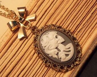 Gold and Gray Skeleton Cameo Necklace