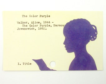 The Color Purple Library Card Art - Print of my painting on library card catalog card
