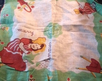 Vintage Mary Contrary Child's Hankie