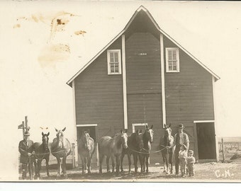 Antique Postcard Photograph of a Barn with Horses