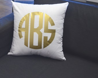 Gold Monogram Pillow, Decorative Throw Pillow, Home Decor, Accent pillows, Personalized Gift, Wedding Gift, Monogrammed Gift, Pillow Cover