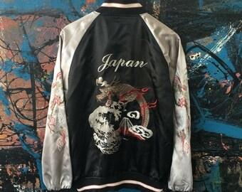 20 Vintage Japanese Traditional 50s Style Fighting Dragon Wave Mount Fuji Japan Yokosuka Embroidery Satin Sukajan Souvenirs Bomber Jacket