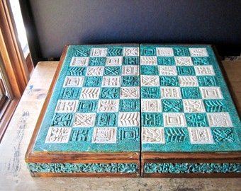 Antique Game Box, Antique Carved Stone Box, Aztec Mayan Box, Stone and Wood Box, Chess Checkers Game, Game Room Decor, Vintage Game Box