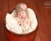 Light Brown Baby Girl Earflap Hat with Pink Heart, Toddler Girl Hat, Valentines Day Hat, Earflap Hat