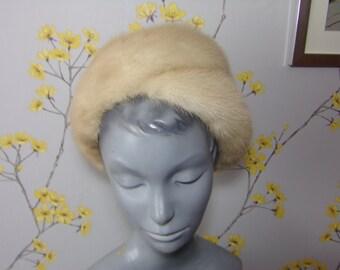 1960s Vintage Golden Pearl Mink Pillbox Hat Real Fur Hat Blonde Mink Formed Hat A Boutique Kates Hat Canada