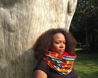 Himba Kente print imperial red snood