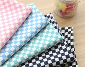 "Chessboard Semi-sheer Cotton Fabric, Lightweight and Thin - Pink, Sky, Mint Green, Navy or Black - 57"" Wide - By the Yard 79411"