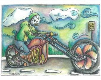 Watercolor biker painting print, biker painting, motorcycle painting, Harley Davidson painting, skeleton painting, skeleton motorcycle art