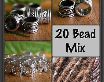 20 Bead Mix - 10 Silver 7mm DREADLOCK Beads & 10 Tibetan Style Silver 7mm Dread Hair Beads - Colored