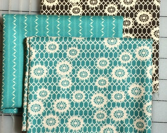 Set of 3 Fat Quarter cuts - Denyse Schmidt - Ansonia Honeycomb Lace and Fine Stripe #4