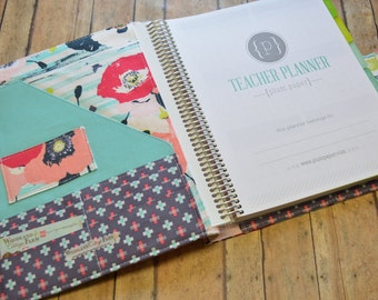 READY TO SHIP    Large Plum Paper Teacher Planner Cover