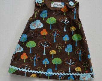 Toddler A-line dress/ jumper, baby girl dress/jumper, abstract tree design, autumn jumper, back-to-preschool, size 18 months.