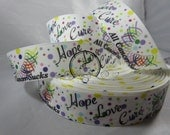 Hope love cure, All Cancers sucks Grosgrain Ribbon by the Yard 1 Inch RN16001