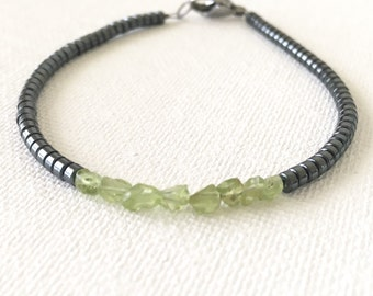 Men's Bracelet, Father's Day gift, Raw Peridot Bracelet for him, August Birtday Present for Dad