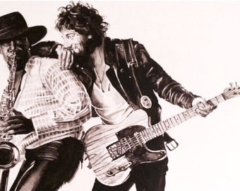 Black and White: Bruce Springsteen-Born to Run watercolor print