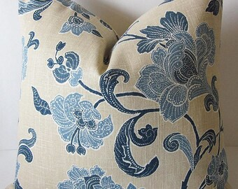 Jacobean Pillows, Floral Pillow Cover, Linen Pillow Cover, Duralee Pillow, Traditional Pillow, Decorative Pillow, Blue Floral Pillow