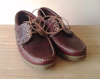 Vintage Boat Shoes/Deck Shoes/Leather Boat Shoes/Brown Deck Shoes/Casual Footwear/Classic Footwear/Lace Up Shoes/Loafers/Boat Shoes/1980s