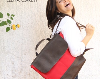 Red backpack, Red leather backpack, Canvas backpack women, Brown backpack, Foldover purse, Diaper bag for girls