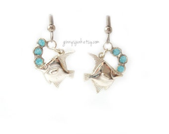 Silver Fish Dangle Earrings - Wire and Paper Bubble accents