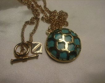"""Fornash Re-constructed Turquoise Necklace-large 57 grms ( almost 2 oz) Toggle & Ring -32""""long, 40mm diam-1450"""