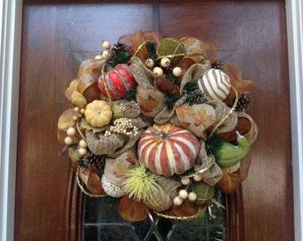 Fall Burlap and Mesh Wreath