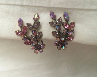 Vintage Austria Pink Rhinestone Clip Earrings
