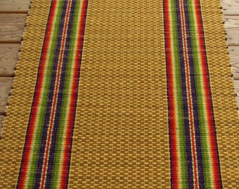 HANDWOVEN Rainbow Stripe RAG RUG Runner Wool Warp Traditional Functional Sustainable Handweaving for Today's Floor