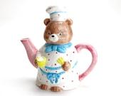 Vintage Teddy Bear Teapot, Otagiri Tea Pot, Vintage Bear Teapot, Teddy Bear, Baker, Child's Teapot, Tea Party, Collectible Teapot, Epsteam