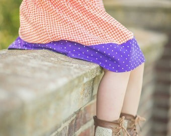 Toddler Girl Skirt - Little Girls Orange and Purple Skirt - Back To School - Handmade Modest Skirt - Girls Fashion clothes - Size 3