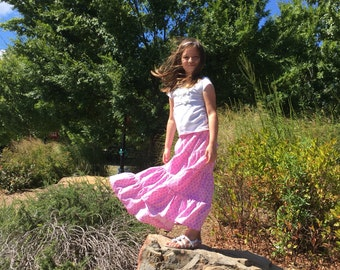Girls Ruffle Skirt - Pink Ruffle Skirt - Girls Long Skirt - Girls Modest Skirt - White Skirt - Girls Boutique Skirt - Girls Fashion