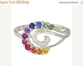 Valentines Day Sale Multicolor Rainbow Sapphire & Diamond Swirl Ring 14K White Gold (0.62ct tw): sku 1437-14k-wg