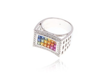 Multicolor Rainbow Sapphire & Diamond Invisible Set Ring 18K Gold (2.51ct tw): SKU 20912