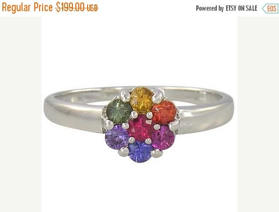 Valentines Day Sale Multicolor Rainbow Sapphire Flower Cluster Ring 925 Sterling Silver : sku 1582-925