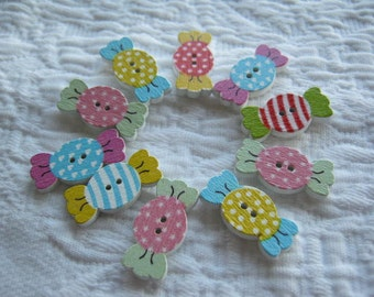 Candy buttons.sewing.scrapbooking.card making.Painted wood candy buttons.10 pk.