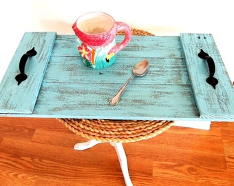 Rustic Pallet Wood Tray Blue Distressed Weathered Reclaimed Wood Handmade Beach Coastal Nautical Breakfast TV Coffee Table Serving Tray