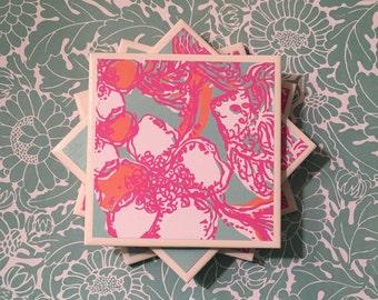 Lilly Pulitzer Feeling Tanked Print, Tile Coasters Set of Four, Pink, Blue, Orange, White, Felt-Backed