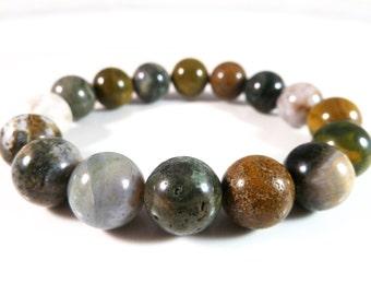 Ocean Jasper Stretch Bracelet Round 12mm Smooth Polished Gemstone Beads