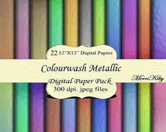 "65% OFF Instant Download - Digital Scrapbook Paper Pack - Colourwash Metallic - MK45 - 22 12""x12"" Digital Papers - Collage Sheets - Scrapboo"