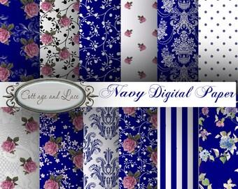 Floral Digital Paper, Pink Rose Scrapbooking Paper, Damask Paper, Digital Paper Pack, No 1236