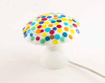Mushroom Lamp, Night Light for Kids, Polka Dots, Fused Glass, Nursery Lighting, Fun Room Decor, Whimsical Decoration, Unique Gifts for Kids