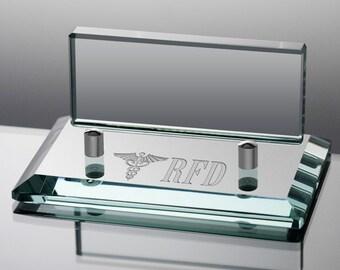 Monogrammed Caduceus Jade Glass Business Card Holder