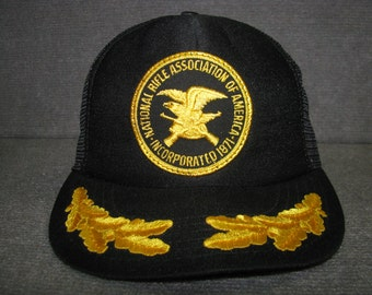 Vintage Retro NRA National Rifle Association Adjustable Snapback Mesh Trucker hat Made in USA