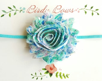 Aqua Floral Headband, Baby Headbands, Infant Headbands, Baby Bows, Baby Girl Headbands, Infant Bows, Newborn Headbands