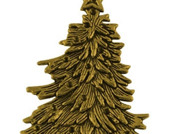 2pc 69x45mm antique gold finish christmas tree pendants-2919H