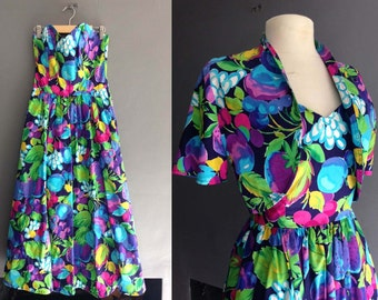 80s Strapless Dress with bolero XS