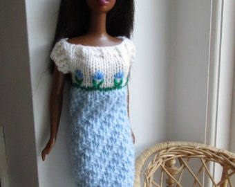 Barbie clothes - pale blue dress with hand-embroidered flower motif